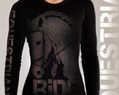 black RIDE equestrian thermal shirt - long sleeve - fitted women's - made in USA