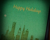 Happy Holidays set  of 12 gocco printed holiday cards free shipping