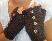 Dark Chocolate Delight Hand Knit Women Fingerless Gloves