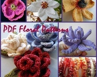5 Floral PDF Knitting Patterns plus a Bonus