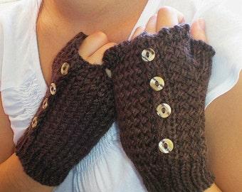 Dark Chocolate Delight Hand Knit Women Fingerless Gloves