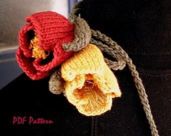 PDF Knit Jewelry Pattern - Flower Fiber Art - Poppy Love Lariat
