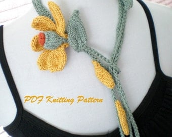 PDF Knitting Pattern - He Loves Me, He Loves Me Not - Yellow Daisy Lariat
