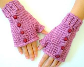 Women Wool Knit Fingerless Gloves - Raspberry Parfait
