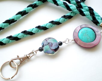 Hand Braided and Beaded id Badge Lanyard - Spinning Turquoise