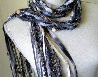 Women Fashion Knot Scarf with Beads - Shades of Gray