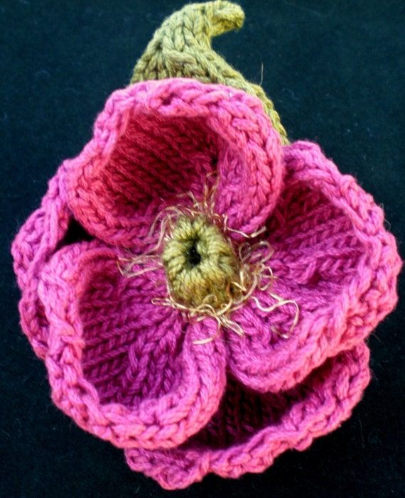 Knitting Roses Pattern : Instant download pdf knit flower pattern peony knitted