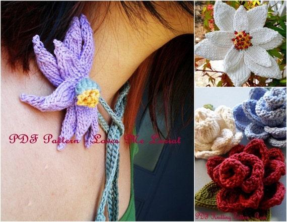 PDF Flowers Knitting Pattern Set - Loves Me Lariat, Rose Flower, Poinsettia Flower