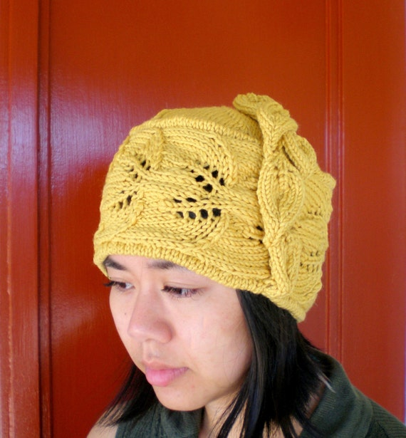 PDF Knit Hat Pattern - Trailing Leaves Hat / cloche from ...