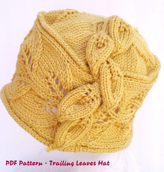 PDF Knit Hat Pattern - Trailing Leaves Hat / cloche