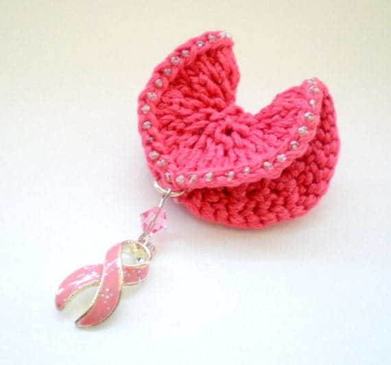 Women Angel Heart Knit Jewelry Brooch Pin - Breast Cancer Awareness