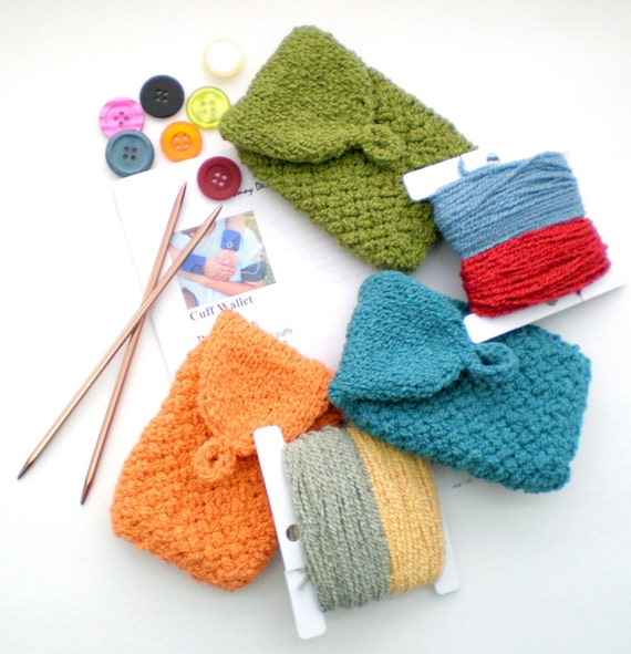 Knitting Diy Kits : Hand knitting diy kit with pattern for basic cuff wallet