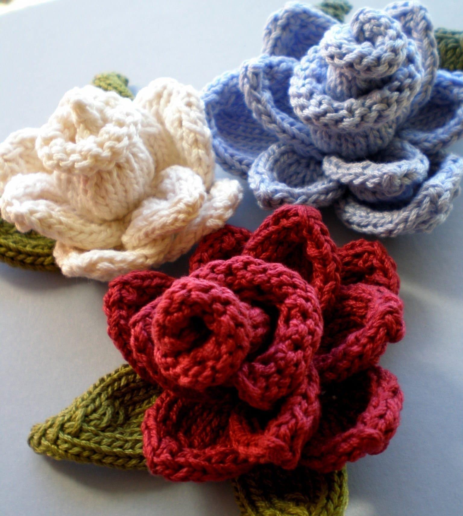Knitting Expat Etsy : Pdf knitting pattern rose knit flower