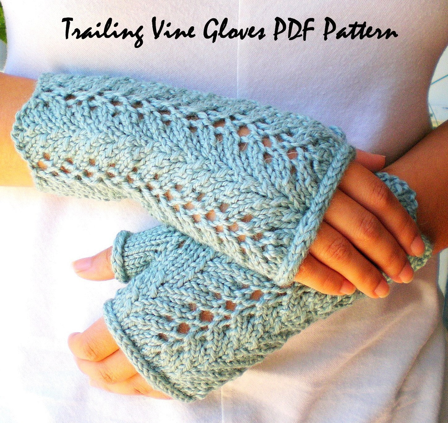 Lace Mittens Knitting Pattern : PDF Knitting Pattern Lace Fingerless Gloves Trailing Vines