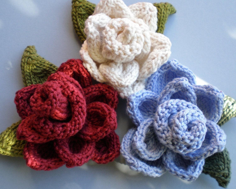 PDF Pattern Rose Knitted Flower