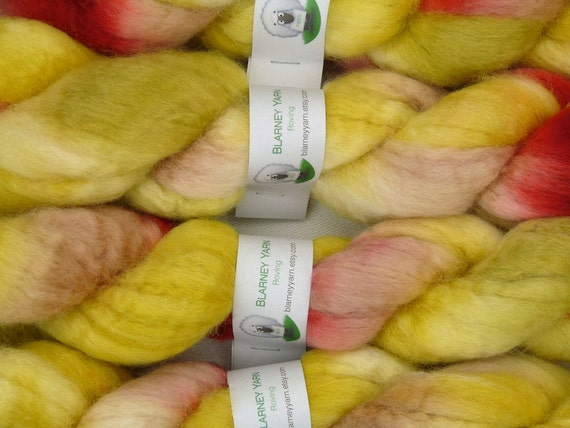 SALE - Handpainted Roving - 2 oz. Bluefaced Leicester Wool in Golden Delicious by Blarney Yarn