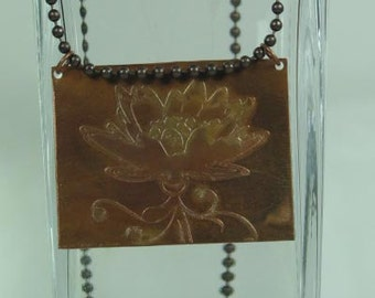 Etched Copper Flower Pendant