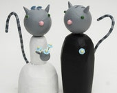 Gray Kitty Bride and Groom Wedding Cake Toppers