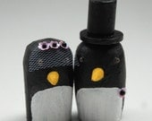 Penguin Wedding Cake Toppers - three veil flowers