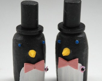 Fabulously Gay Penguin Wedding Cake Toppers