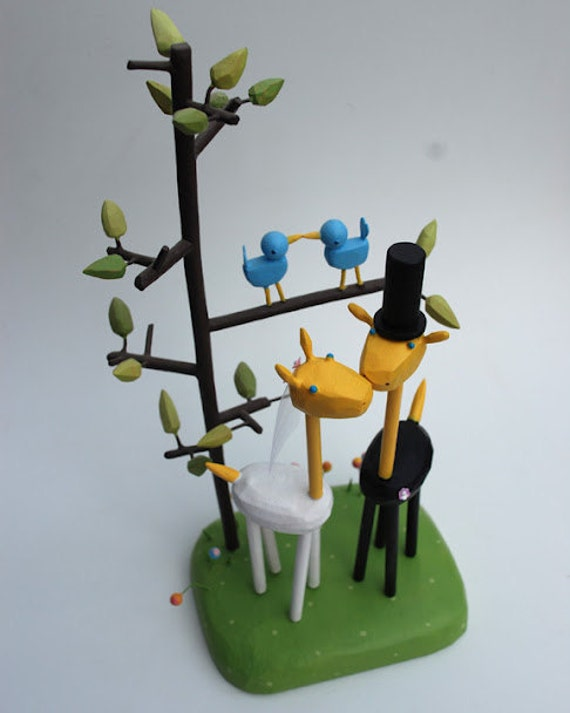 Custom Bride and Groom Giraffes with tree stand - reserved for dbaker1228