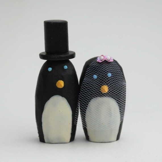 Penguin Bride and Groom Wedding Cake Toppers