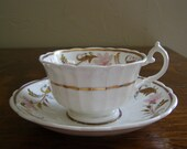 Antique English Teacup and Saucer - mid 1800's - FREE SHIPPING