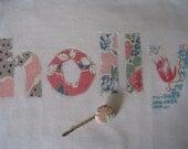 Personalised tshirt in pastel vintage fabrics sizes: 0 2T 4T 6 8