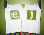 Personalised Initial in Retro Fabric on  white tank   6months to 14 years. Choice of 7 green retro fabrics