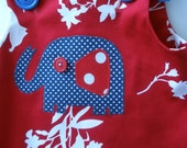 Very cute pinafore in Red, Navy and White with retro Elephant applique 6 month old