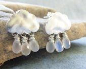 I'm Singing In the Rain - Earrings with Silver Plated Clouds and AAA Moonstone Briolettes
