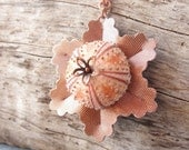 Sea Urchin Collection- Pink Copper Vintage Flower Necklace