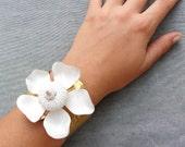 Sea Urchin Collection - White Enamel Vintage Flower Cuff