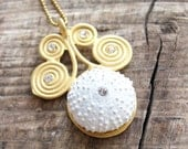 Sea Urchin Collection - Gold and White Swirl Necklace