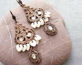 Love is.... Mother of Pearl and Enamel Earrings