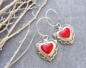 Love is in the Air - Red Enamel Earrings