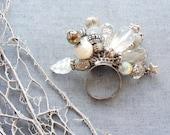 Little Treasures Ring - White Lampwork and Rhinestones