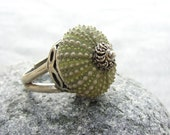 Sterling Silver Sea Urchin ring Green Sultan Ring, Beach Jewelry, available between sizes 6 and 10