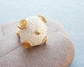 Sea Urchin Collection - Golden Swirls White Ring