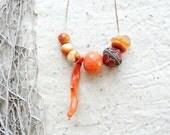 Coral, Orange Quartz, Agate Enamel Necklace - Earthbound