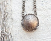 Sea Urchin Necklace Oxidized Sterling Silver Necklace (Ooak)