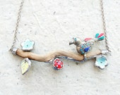 Paradiso Bird Necklace Bird on a Branch Necklace - Wood, Metal, Glass