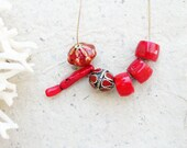 Red Coral Necklace, Ceramic, Enamel Necklace, Earthbound, Beach Reds, Bohemian Jewelry, Layering Necklace