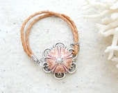 Leather Sea Urchin Bracelet Peach and Salmon hues - StaroftheEast