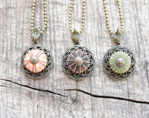 Sea Urchin Necklace - Brass Woodland Necklace - Brown Green Pink - Pick your Color