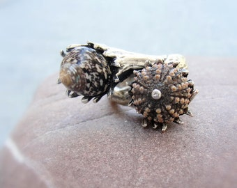 Brown Sea Urchin Ring, Multistone Ring, Duo Ring, Beach Jewelry, Mermaid Statement Ring