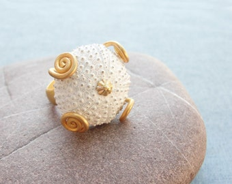 Sea Urchin Collection - Golden Swirls White Ring
