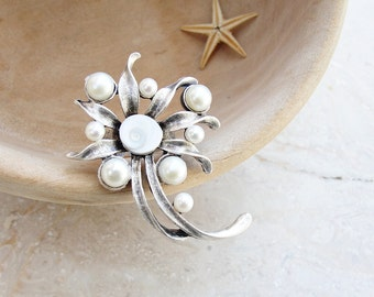 Pearl and Shell Ring, Sea Treasure Cocktail Ring, Pearl and Eye of Shiva Shell Ring