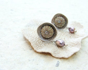 Sea Urchin Post Earrings with Pearls