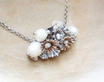 Pearl and Limpet Shell Necklace - Sea Treasure Collection